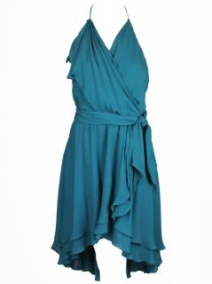Haute Hippie Womens Take Me Now Teal Ruffled Silk Halter Dress s $515