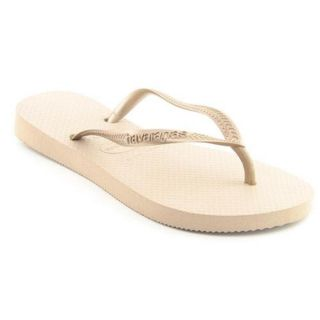 Havaianas Slim Youth Kids Girls Size 2 Gold Synthetic Flip Flops