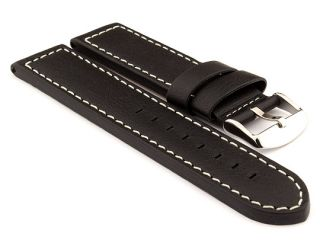 22mm Black/White   HAVANA Genuine Leather Watch Strap / Band