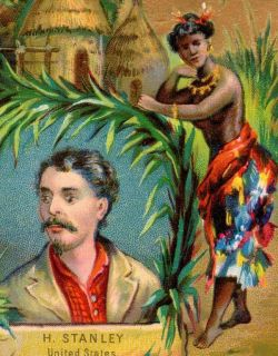 1800s Henry Stanley African Village Black Topless Woman Jungle Hut
