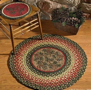 Lodge Rug Pine Cone Round Rug Braided Hooked Rug Pinecone Cabin Decor