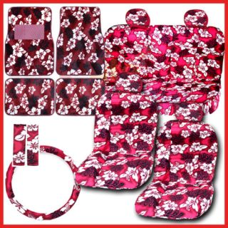 Red Hawaiian Flowers Car Seat Covers Accessories Set