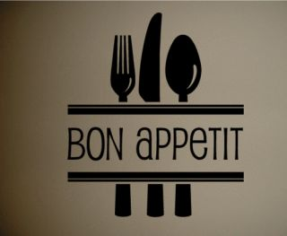 Kitchen Bon Appetit Silverware Home Decor Wall Decal