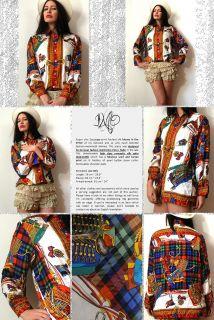 Vtg Hermes Style Foulard Scarf Print Tartan Silk Blouse Shirt Dress
