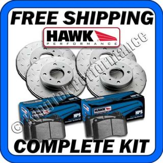 Hawk Quiet Slot Brake Rotors HPS Brake Pads 02 02 Subaru Legacy L
