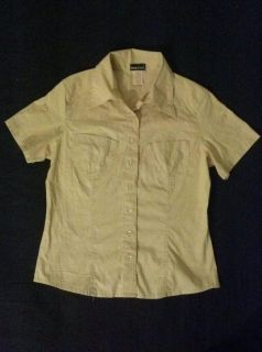 New Wet Seal Forever 21 Tan Button Down Pocket Top Shirt Medium 6 8