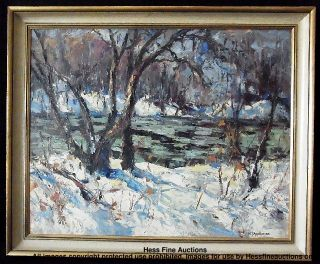 Hopkinson Canadian Impression Winter Stream Landscape Painting CNX