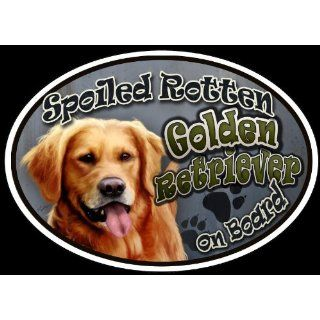 Golden Retriever   Spoiled Rotten Oval Dog Magnet for Cars