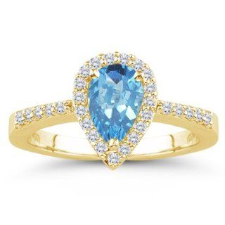 26 Cts Diamond & 4.55 Cts Swiss Blue Topaz Ring in 14K Yellow Gold 6
