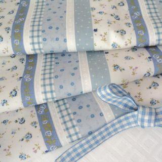 Bo Beep Cream Blue Small Floral Print Fabric per M