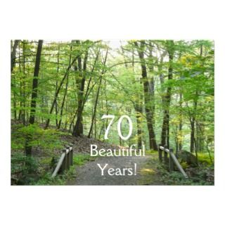 70 años hermosos!   Cumpleaños+Puente del bosque Invitacion