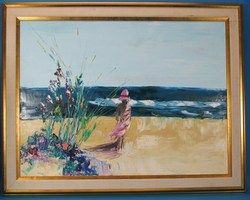 Fine Framed Original Don Hazen Oil Painting of Seascape