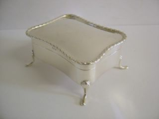 Good Quality Antique Solid Silver Jewellery Box Birmingham 1907