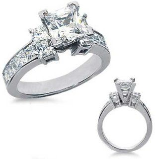29 Ct.Princess Cut Diamond Engagement Ring with Side Stones Jewelry