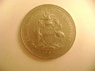 1985 COMMONWEATH OF THE BAHAMAS TWENTY FIVE CENT COIN TWO TEN CENT 87