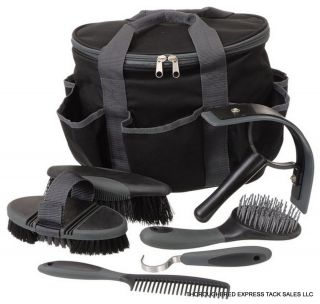 Great Grips Black 7 Piece Grooming Kit with Tote Bag Horse Tack Equine