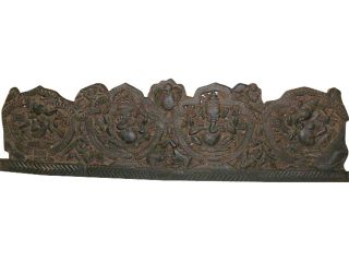 Five Forms of Sitting Ganesha Carved Headboard Wall Panel Bed Frame