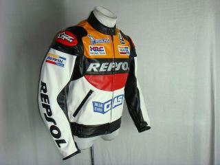 Repsol Honda Motorcycle Jacket PU Leather s XXL Orange