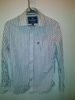 American Eagle Vintage Fit Blue White Stripe Size XS Button Down Shirt