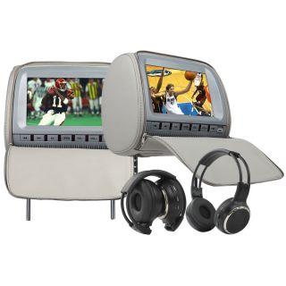 LCD in Car Pillow Headrest DVD Player IR Headphone Grey USB SD