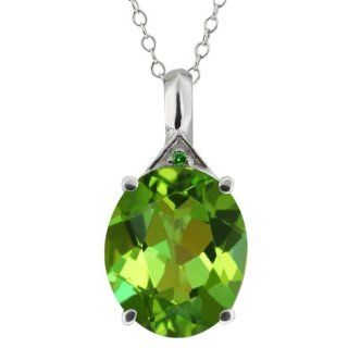 16 Ct Oval Envy Green Mystic Quartz and Diamond 18k White Gold