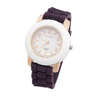 Como Antiskid Dark Purple Silicone Band Wht Round Case