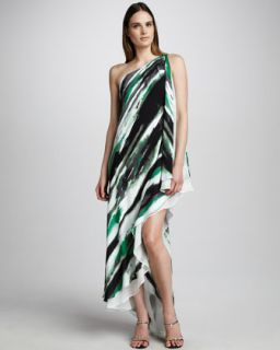 Nicole Miller Watercolor Print Georgette Gown