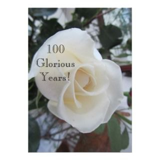 100 GloriousYears! Birthday Celebration/White Rose Invitations