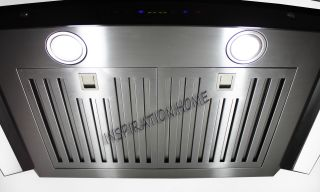 Stainless Steel Glass Wall Mount Range Hood CFM Remote Control