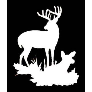 BUCK & DOE DEER SILHOUETTE Vinyl Sticker/Decal (Hunting