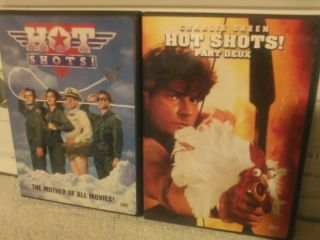 HOT SHOTS & HOT SHOTS PART DEUXCharlie Sheen 2 Pack DVDs LIKE