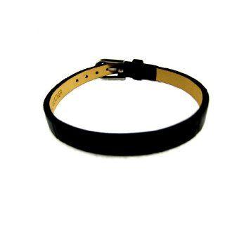 BLACK Genuine Leather Slide Charm Bracelet *Personalize