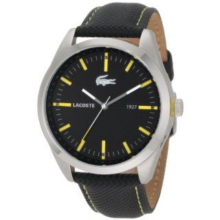 Lacoste Montreal Black Dial Black Leather Mens Watch 2010596 Watches