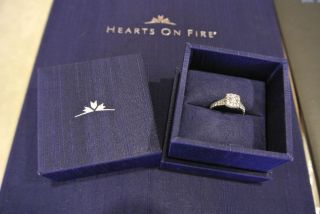 Hearts on Fire Round Cut Halo Diamond Engagement Ring 18K White Gold 1