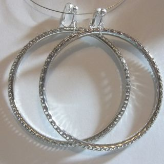 CLIP ON 3 Silver Tone Large Hoop Fashion Non  Pierced Earrings (H328