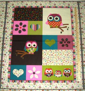 Hoot Owl Owls on Branches Flowers Cotton Fabric Panel 1 Yard