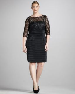 David Meister Womens Metallic Lace Dress, Womens
