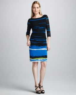 mesh boat neck dress available in navy multi $ 290 00 kay unger