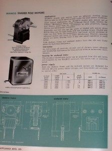Vtg Master Appliance Mfg Co Catalog Mamco Motor Blowers