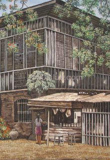 Iligan Ancestral House 24X30 Philippine Pinoy Art Oil Painting Free