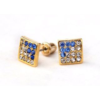 Iced Hip Hop Square CZ Stud Blue & Clear Earrings, Gold