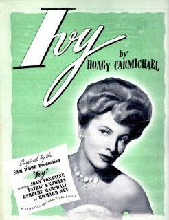 Joan Fontaine Ivy Movie Sheet Music by Hoagy Carmichael