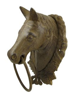 Large Cast Iron Horse Bust Towel Ring Wall Decor