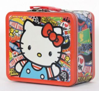 Hello Kitty Stickers Design Metal Tin Lunch Box Lunchbox