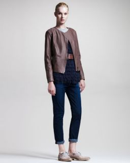 45R9 Brunello Cucinelli Hammered Leather Jacket, Fringed Sleeveless