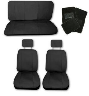 Lightweight Solid Black Synthetic Leather Car Seat Covers w/ Black