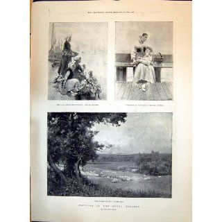 Antique Print of 1893 Royal Academy Boulogne Fisherwoman