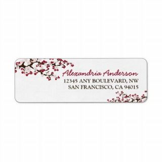 Cherry Blossom Return Address Label (red)