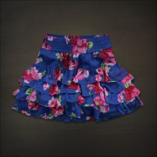 Hollister Abercrombie Women Blue Floral Tiered Ruffle Mini Skirt