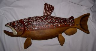 Large Tabletop Brown Trout Folk Art Hand Carved Fish Decoy Signed RAF